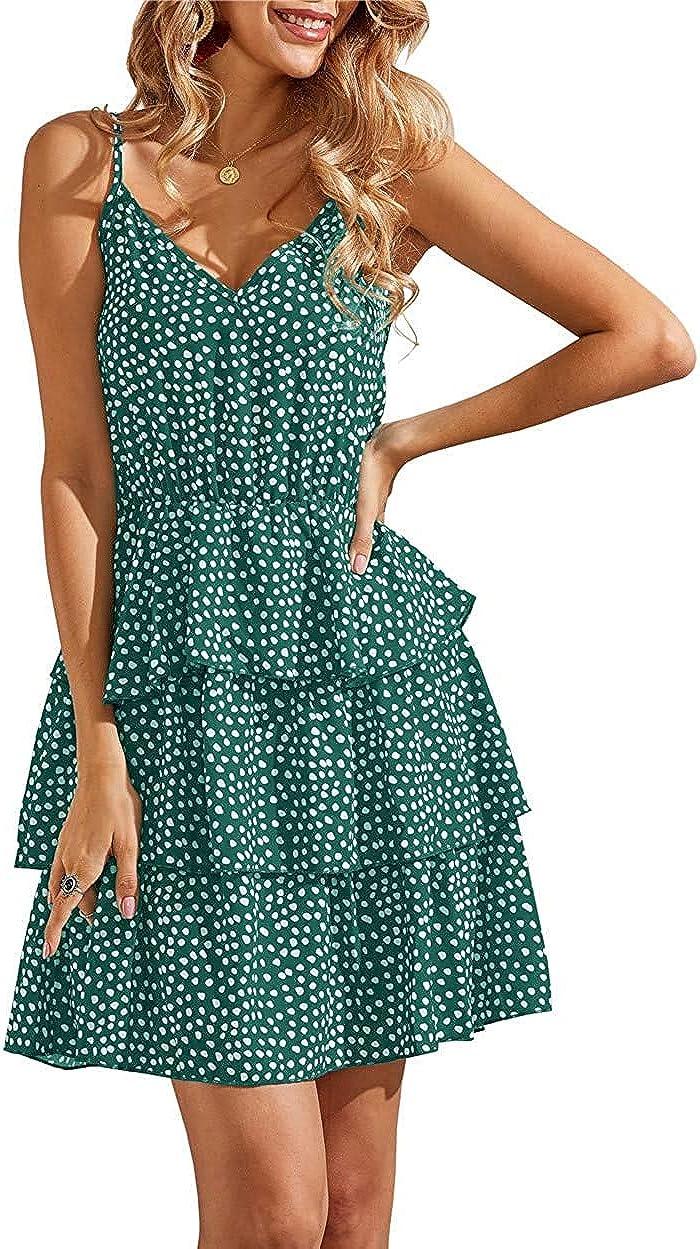 Geckatte Womens Sleeveless Boho V Neck Sundress Polka Dot High Waist Babydoll Swing Party Mini Short Dress