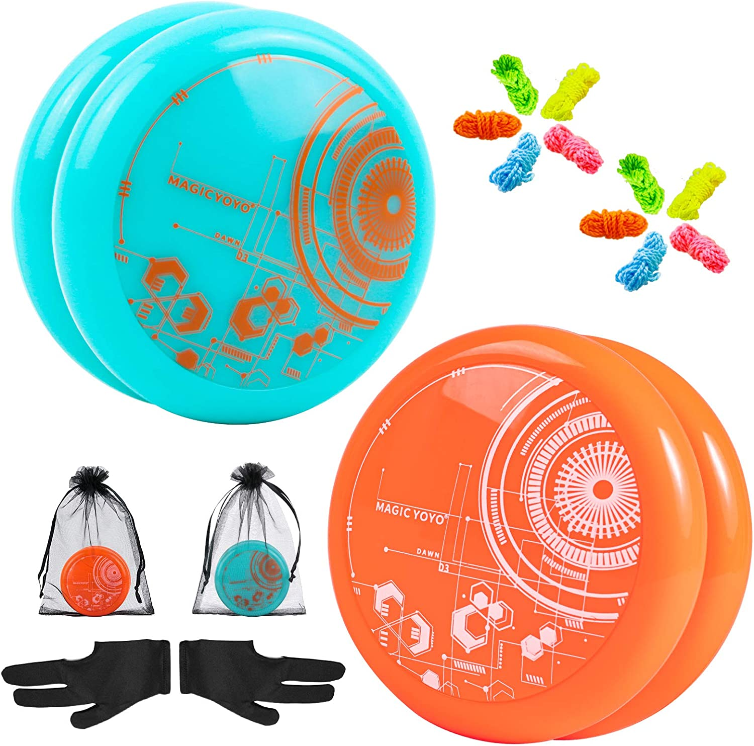 Blue+Orange Professional 2A Looping Yoyo for Beginners to Play Basic Looping Yoyo Ticks with Extra 10 Yoyo String 2 Pack MAGICYOYO Responsive Yoyos for Kids D3 Dawn 2 Gloves 2 Gift Bag