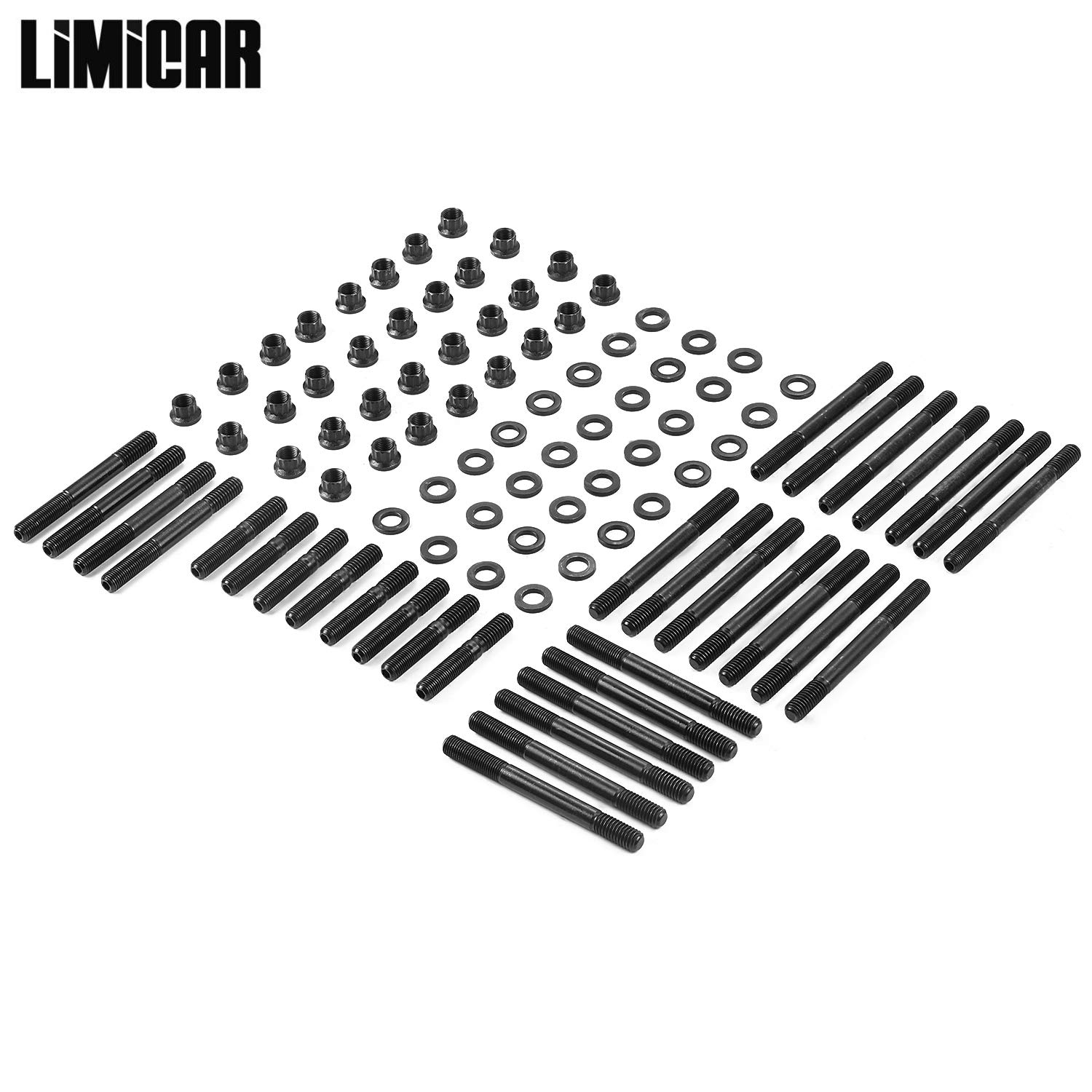 LIMICAR 32PCS Cylinder Gasket Head Studs Complete Set 134-4001 2451-S For Chevy Competition with Aluminum Iron Heads