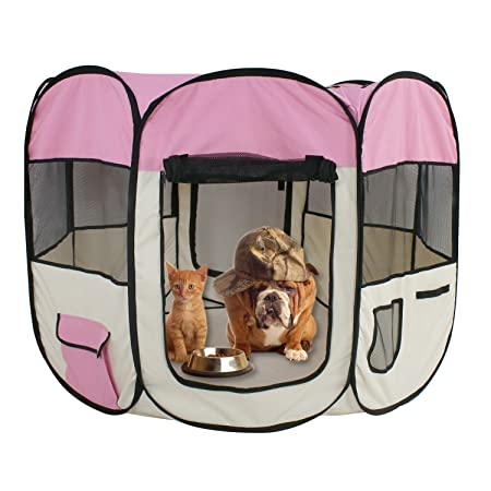 ZENY 48 Pet Puppy Dog Playpen Exercise Pen Kennel 600d Oxford Cloth Pink XL