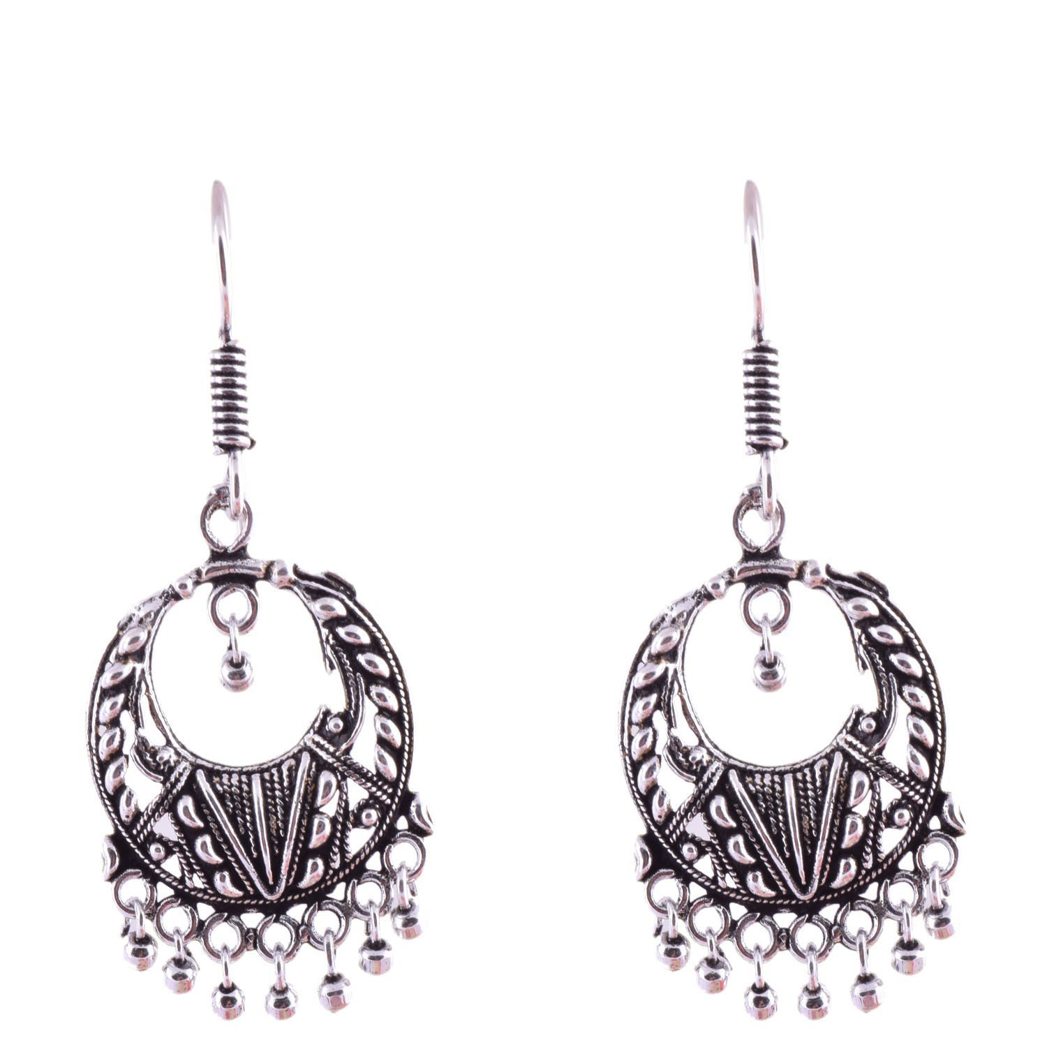 Subharpit Light Weight Oxidized Silver Indian Dangle /& Drop Earring for Women /& Girls