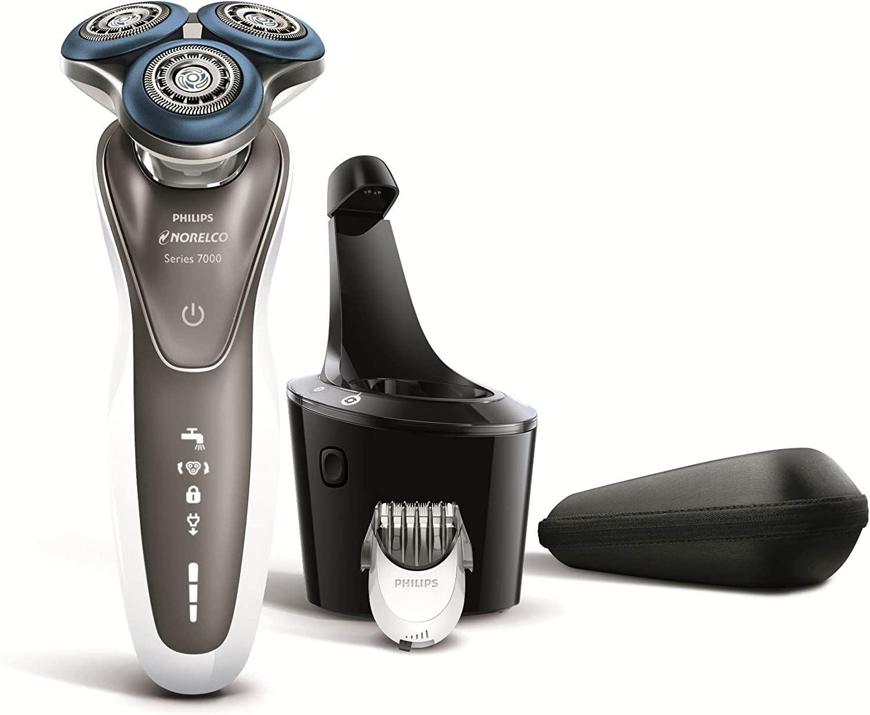 Philips Norelco - Series 7000 Shaver 7700, afeitadora eléctrica recargable para hombres húmedos y secos (modelo S7720/84) con accesorio para recortadora de barba y sistema SmartClean - plateado/negro: Amazon.es: Belleza