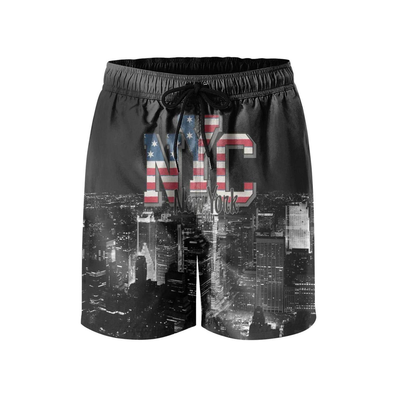 d6b3e9f372 New York City Flag Men's Casual Shorts Summer Funny Beach Shorts Swim |  Amazon.com