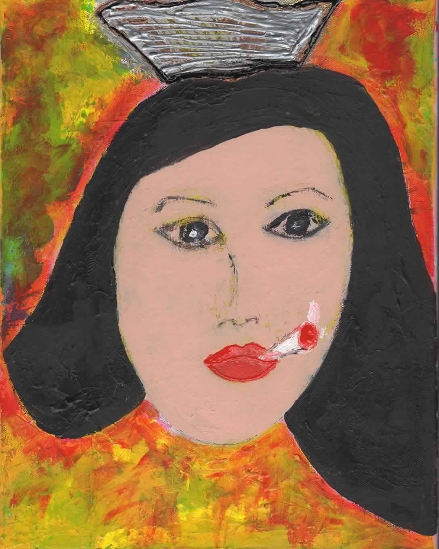 B015IK9BII Kim - Mixed Media Smoking Lady 71-QQ60jN0L._SL1360_