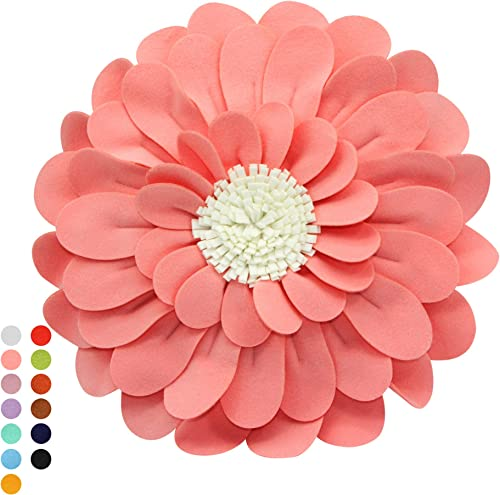 CONTEMPO LIFESTYLES Decorative Flower Pillows 3D Happy Daisy Flower Throw Pillow – Design Patented Couch Bed Flower-Shaped Pillow Soft Cozy 14 Flower, 13 Pillow with Insert, Peach Ivory