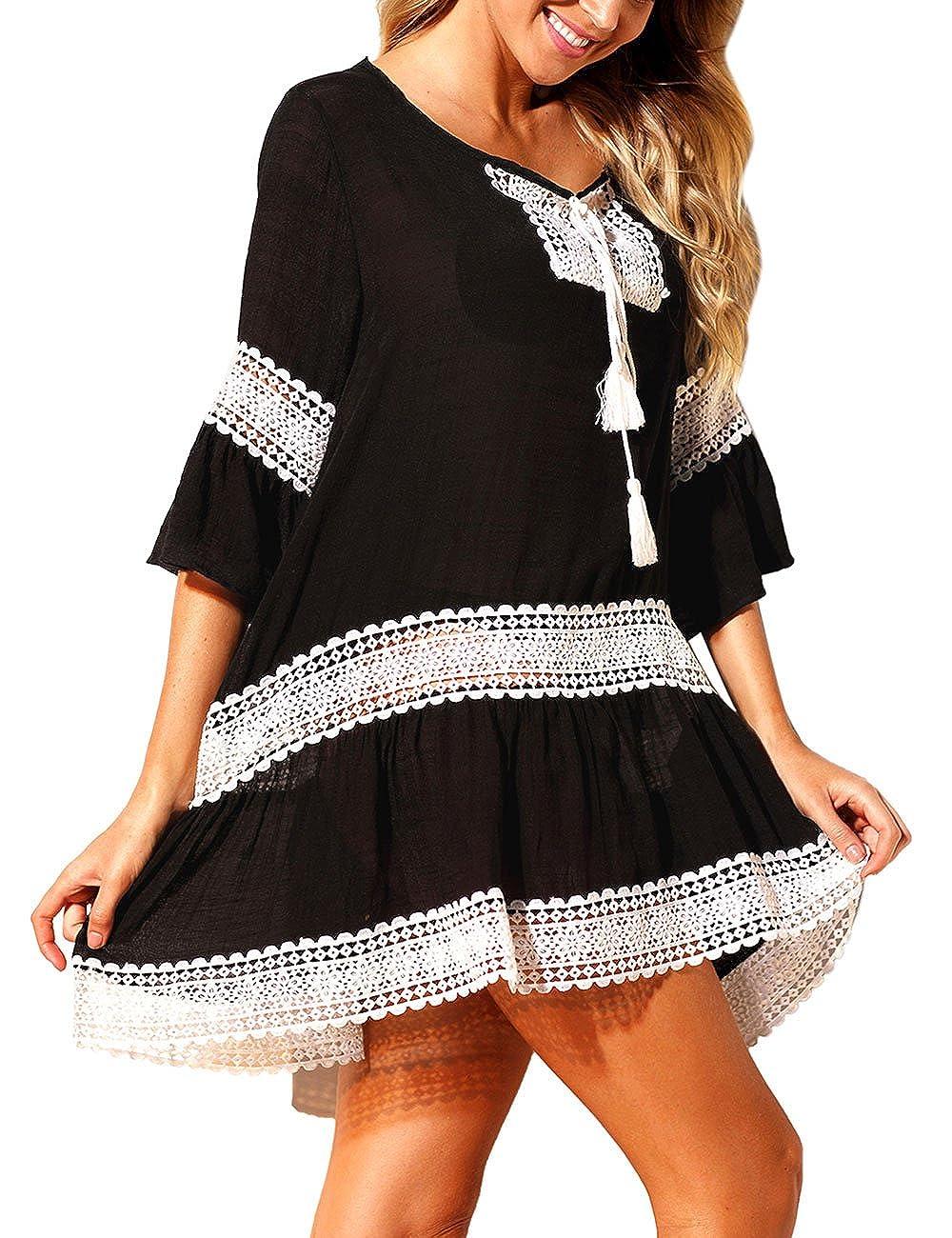 Black White Loose Beach Kaftan with Crochet Insert Swimwear Coverups