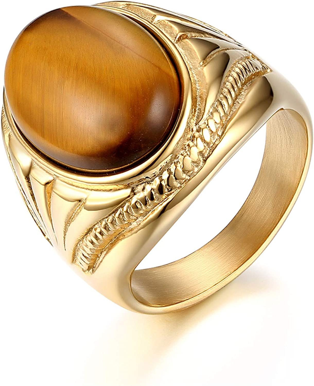 JewelryWe - Anillo de hombre de acero inoxidable con piedras de tigre, color plateado y dorado