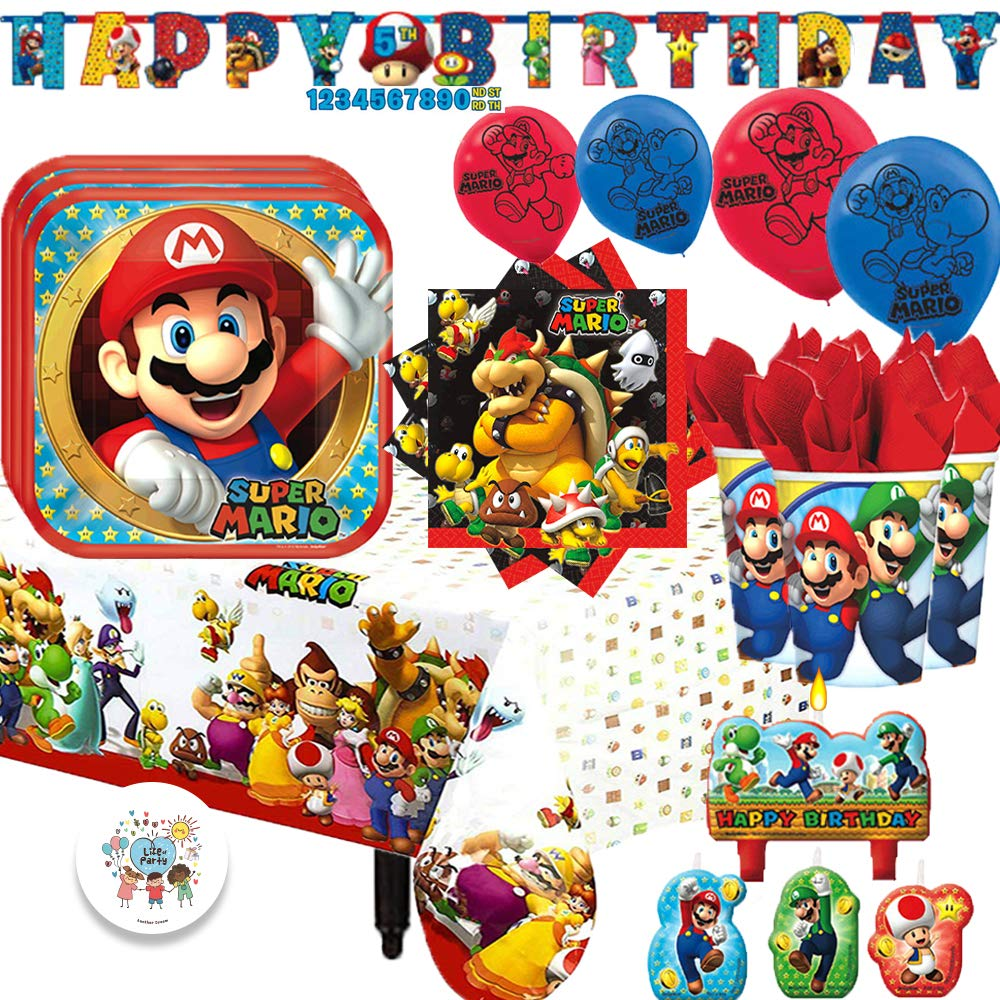 Super Mario Bros MEGA Birthday Supply Party Pack for 16 Guests with Plates, Cups, Napkins, Tablecover, Birthday Candle, Balloons, Customizable Age Banner, and EXCLUSIVE Birthday Pin by Another Dream!