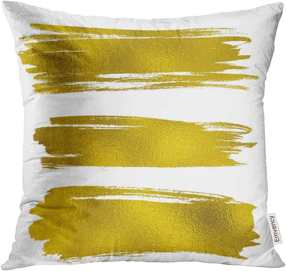 Almohada de Tiro Hoja Amarilla Manchas de Pintura de Oro Trazos de ...