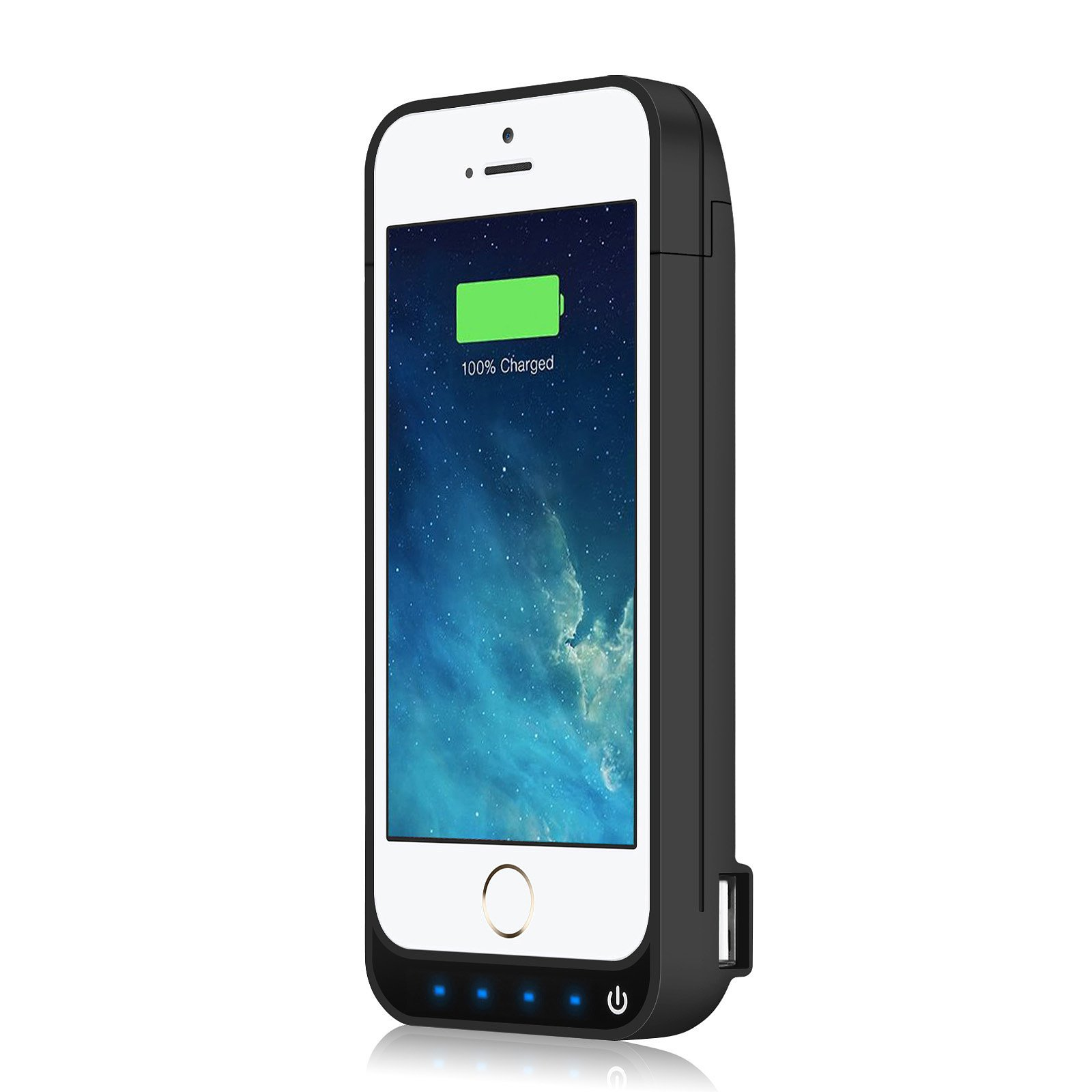 iPhone 5/5S/5C/SE Battery Case iPosible 4500mAh External Rechargeable Charger Case for iPhone 5/5S/5C/SE Charging Case Power Bank Battery Pack [24 Month Warranty] by iPosible (Image #2)