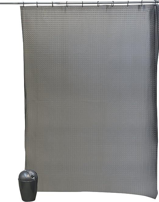 EVIDECO 3D Effect Laser Eva Bathroom Shower Curtain,Grey