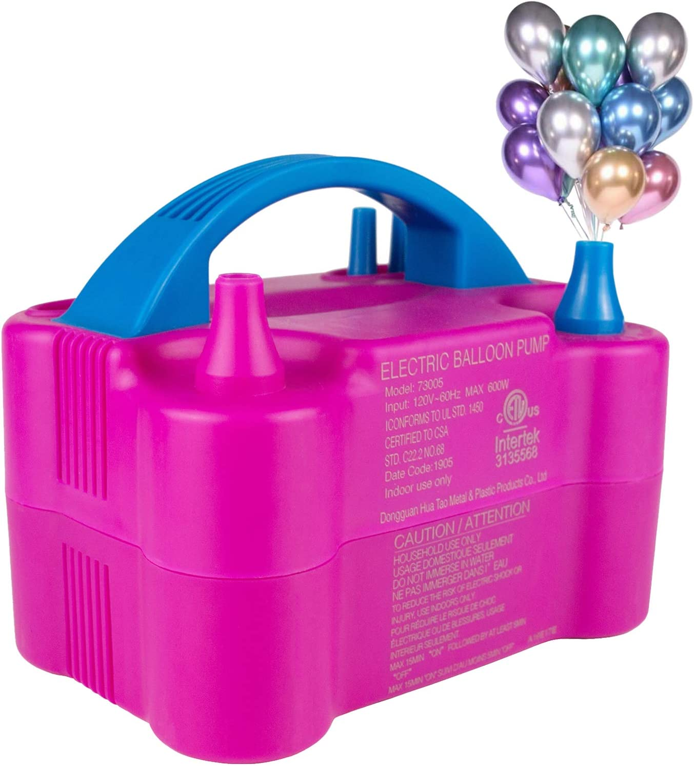Balloon Pump for Party Decoration and Event Rose Red, 110V-120V AC, 600W Electric Balloon Inflator Portable Dual Nozzle Balloon Air Pump