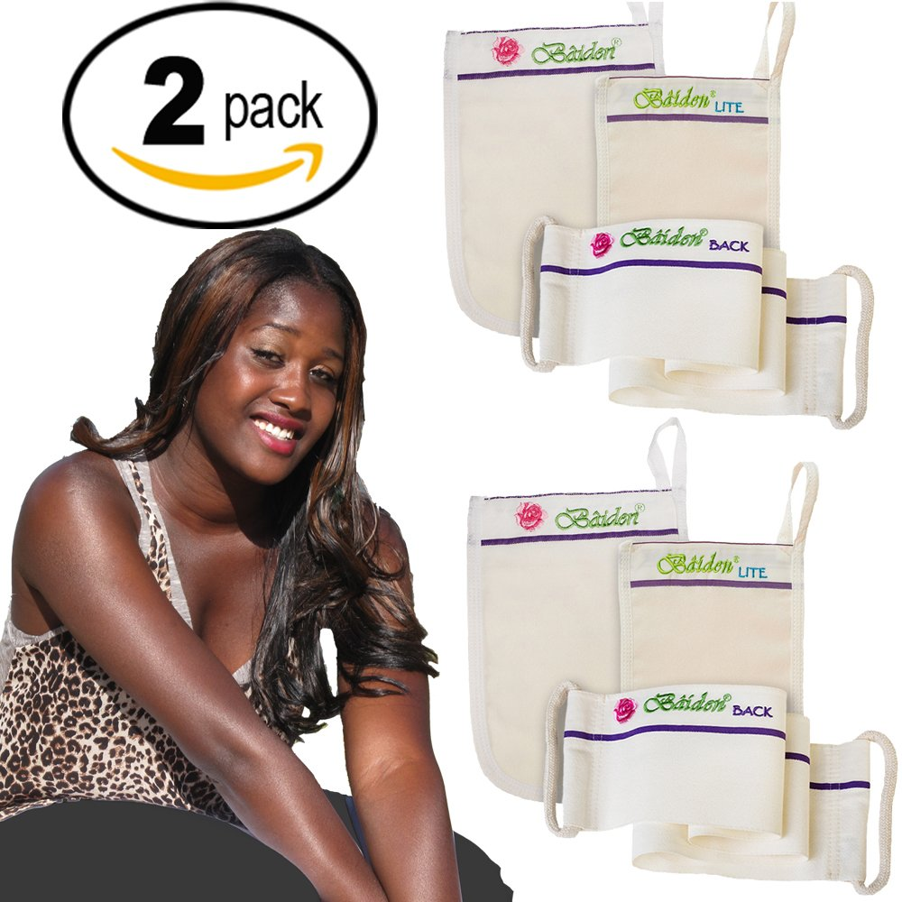 Black Skin Care Bundle for Women: 2X Baiden Exfoliation Systems. Dry, ash skin remover, lightening for dark spots on face, neck, elbows, knees, armpits, feet. Whole body ingrown hair blaster.