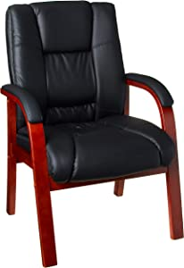 Boss Boss Office Products Mid Back Wood Finished Guest Chairs