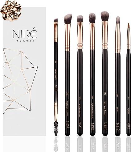 Niré Beauty: Set de brochas de maquillaje para ojos, con pinceles esenciales para sombras de ojos, pincel delineador y pincel biselado para cejas: Amazon.es: Belleza