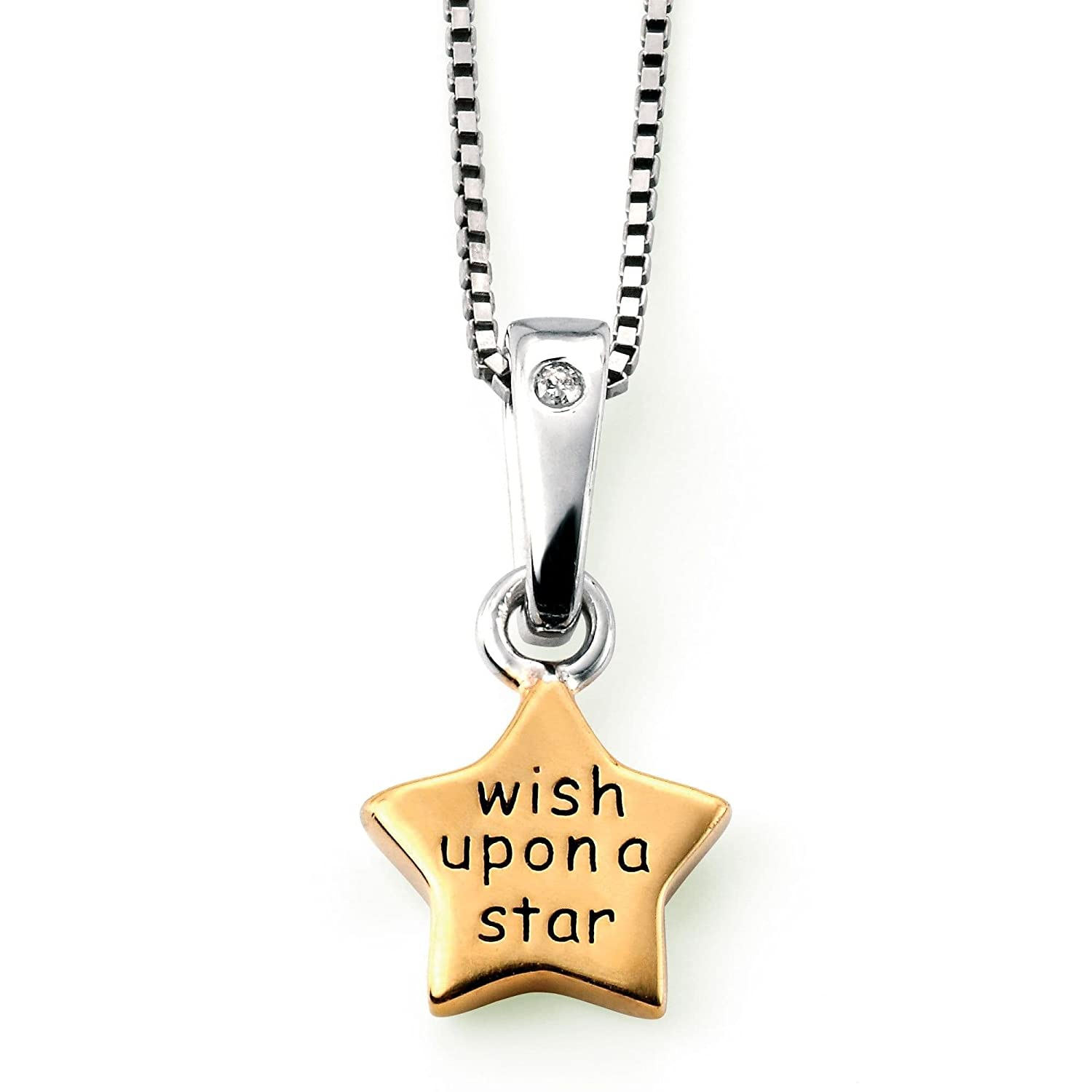 Childs Sterling Silver Diamond 35 cm  Wish upon a Star  Star Pendant Chain Necklace So Chic Jewels