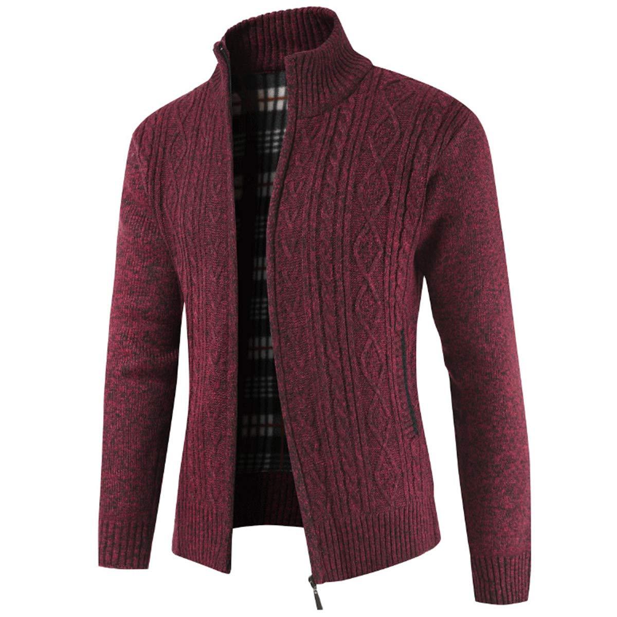 Sliktaa Gilet Veste Cardigan Maille Homme Tricoté en Grosse Col Droit Coton XS-XXL en 4 Couleurs Vêtements