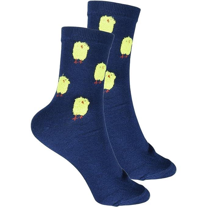 cosey- Calcetines de lana para hombres y mujeres - pollos - azul oscuro (33-42) - 4 pares: Amazon.es: Ropa y accesorios