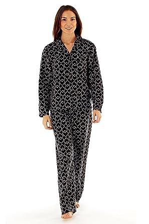 2baa705b8e4f Selena Secrets Womens Luxury Heart Print Pyjamas Soft Fleece Valentines Nightwear  Set  Amazon.co.uk  Clothing