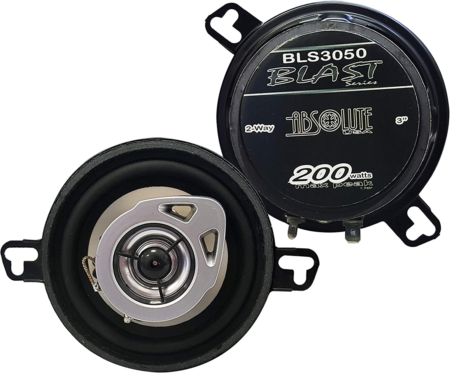 Absolute USA BLS3050 3.5 2-Way Car Speakers with Polypropylene Cones 200 watts per Pair
