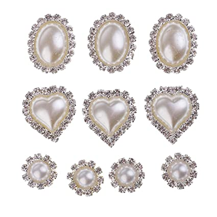 Homyl 10 Pieces White Mixed Oval Heart Round Shapes Flat Back Rhinestone  Button Crystal Embellishment DIY ddd453241f49