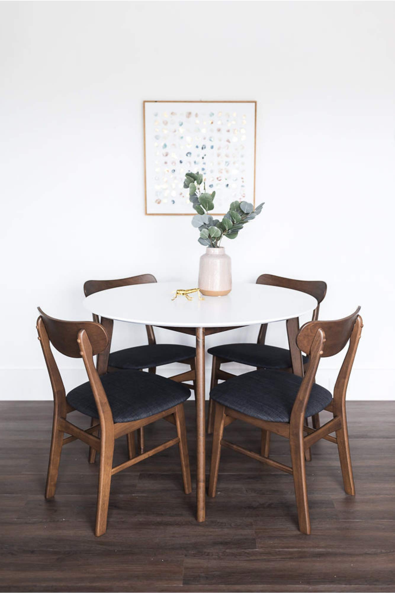 Edloe Finch Dakota Mid-Century Modern 5 Piece Round Dining Table Set for 4, White Top by Edloe Finch (Image #2)
