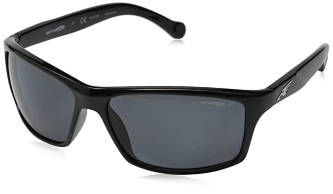 fc9793bd7baa Arnette Boiler AN4207-01 Polarized Rectangular Sunglasses, Black, 61 mm