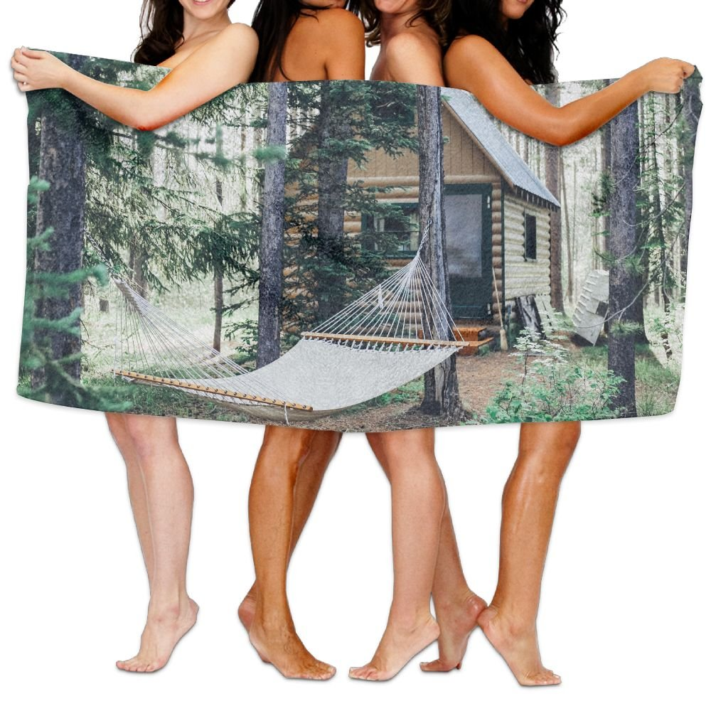 PengMin Grey Hammock In The Woods Premium 100% Polyester Large Bath Towel, Pool And Bath Towel (80'' X 130'') Natural, Soft, Quick Drying