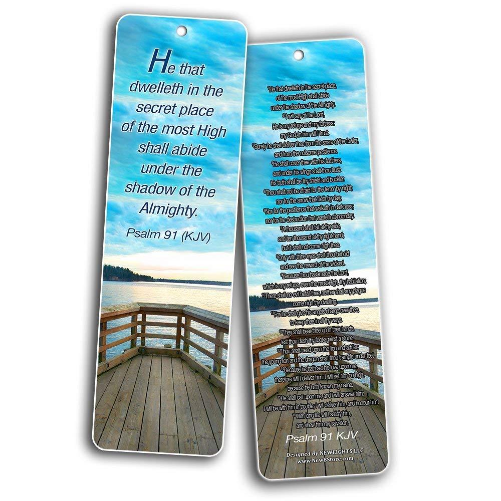 Psalm Bookmarks Cards (KJV Version - 12 Pack) -Christian KJV Version Bible  Scripture Prayer Cards - Psalm 46, Psalm 91, Psalm 118, Psalm 121, Psalm