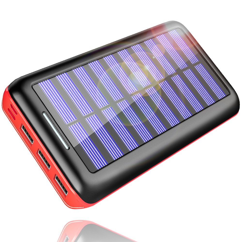 Solar Charger, KEDRON 24000mAh Portable Charger Power Bank with Dual Input Port and 3 USB Output External Battery Pack Compatible Cellphone,Android Phones,Tablet,and Other Devices (Orange)