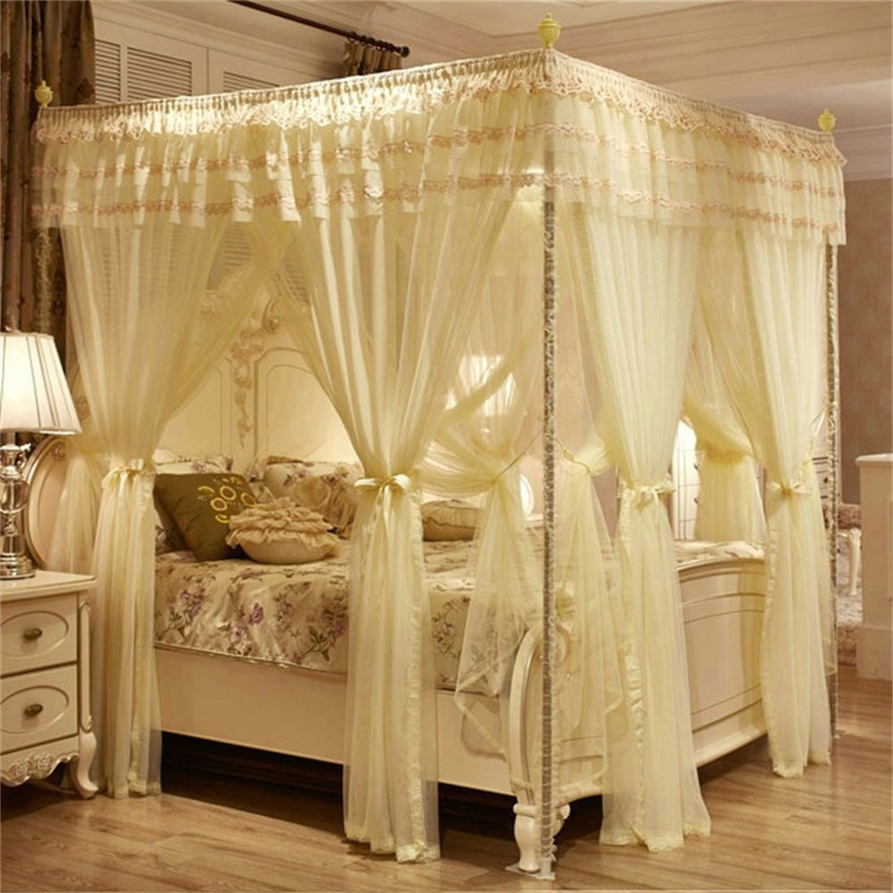 Royal- European Style Square Top Double Layer Mosquito Net Three-door Encryption Thickening Double Bed Princess Style Stainless Steel Bracket ( Color : Beige , Size : 1.8m (6 Feet) Bed )