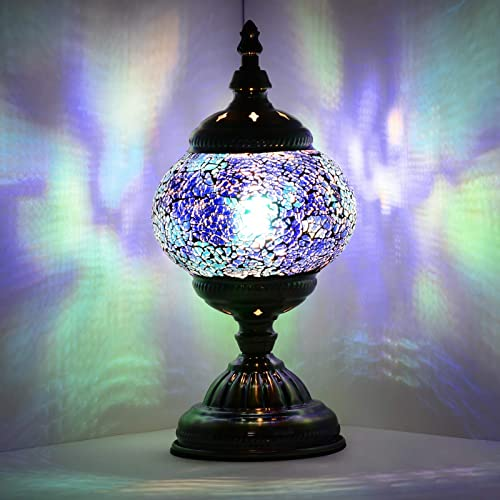 Marrakech Turkish Table Lamp Classic Vintage Tiffany Style Mosaic Stained Glass Nightstand Lamp Desk Beside Lamp Antique Bronze Base