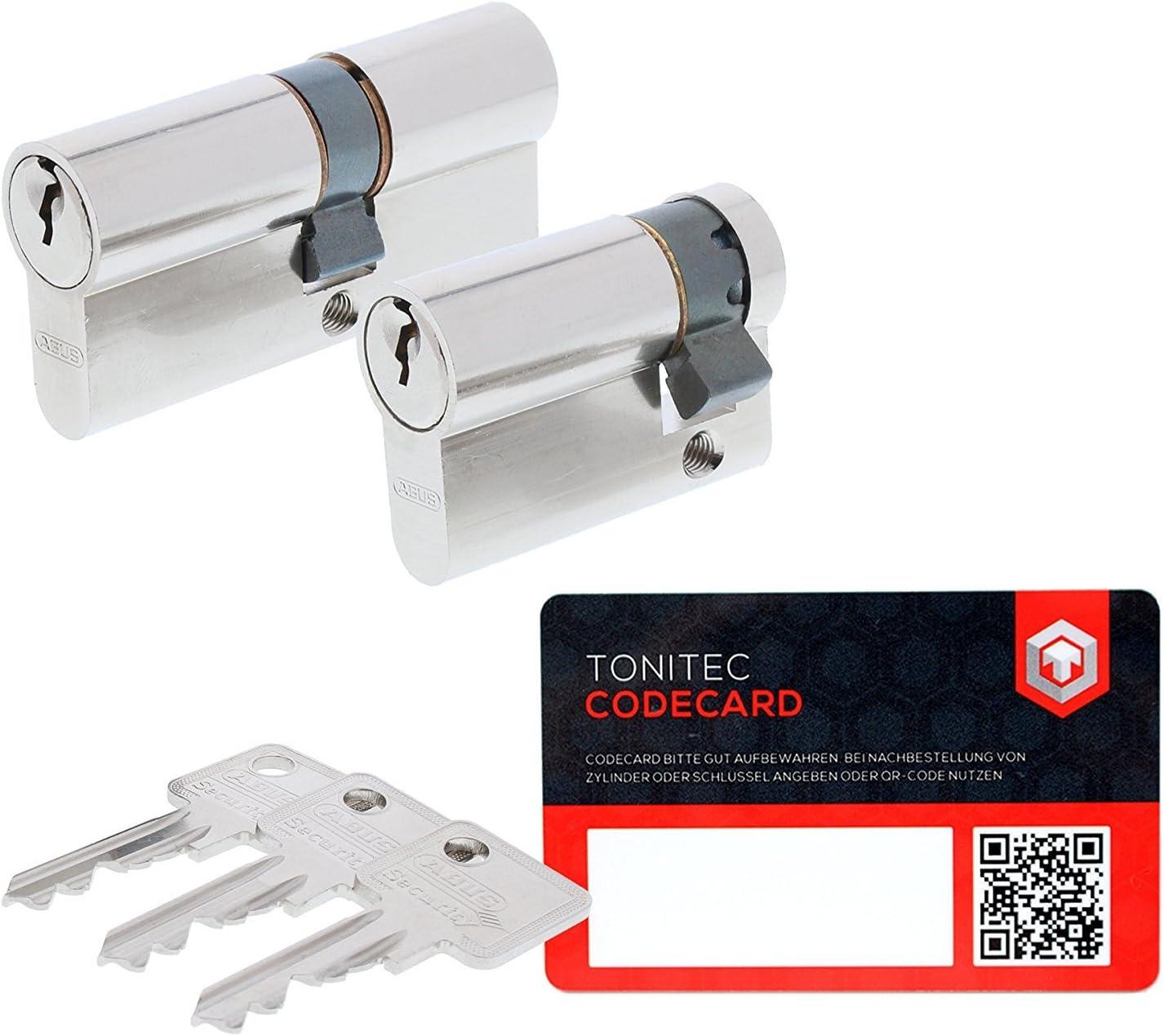 ABUS Schlie/ßzylinder Profilzylinder C73 N+G GS gleichschlie/ßend Lagerschlie/ßung inkl 3 Schl/üssel inkl ToniTec CodeCard Gr/ö/ße 45//50mm