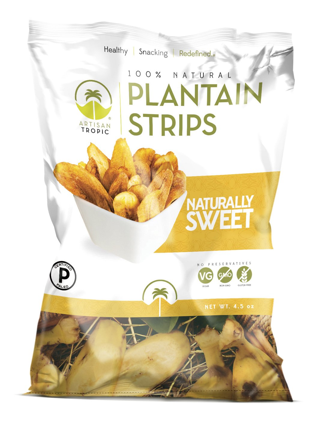 Artisan Tropic Plantain Strips, Naturally Sweet, Cooked in Sustainable Palm Oil, Paleo Certified, 4.5 Oz, (2 Pack)
