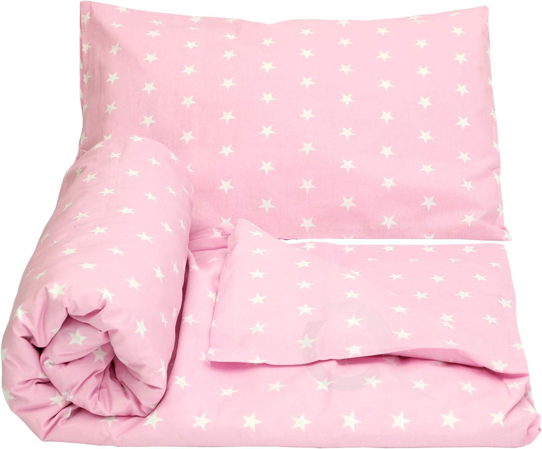 Olobaby Reversible Cot Duvet//Quilt Cover and Pillowcase Set 2 pcs 100/% Cotton Blue /& Grey Stars//White, 135 x 100 cm