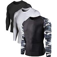 DEVOPS 2~3 Pack Men's Athletic Long Sleeve Compression Shirts