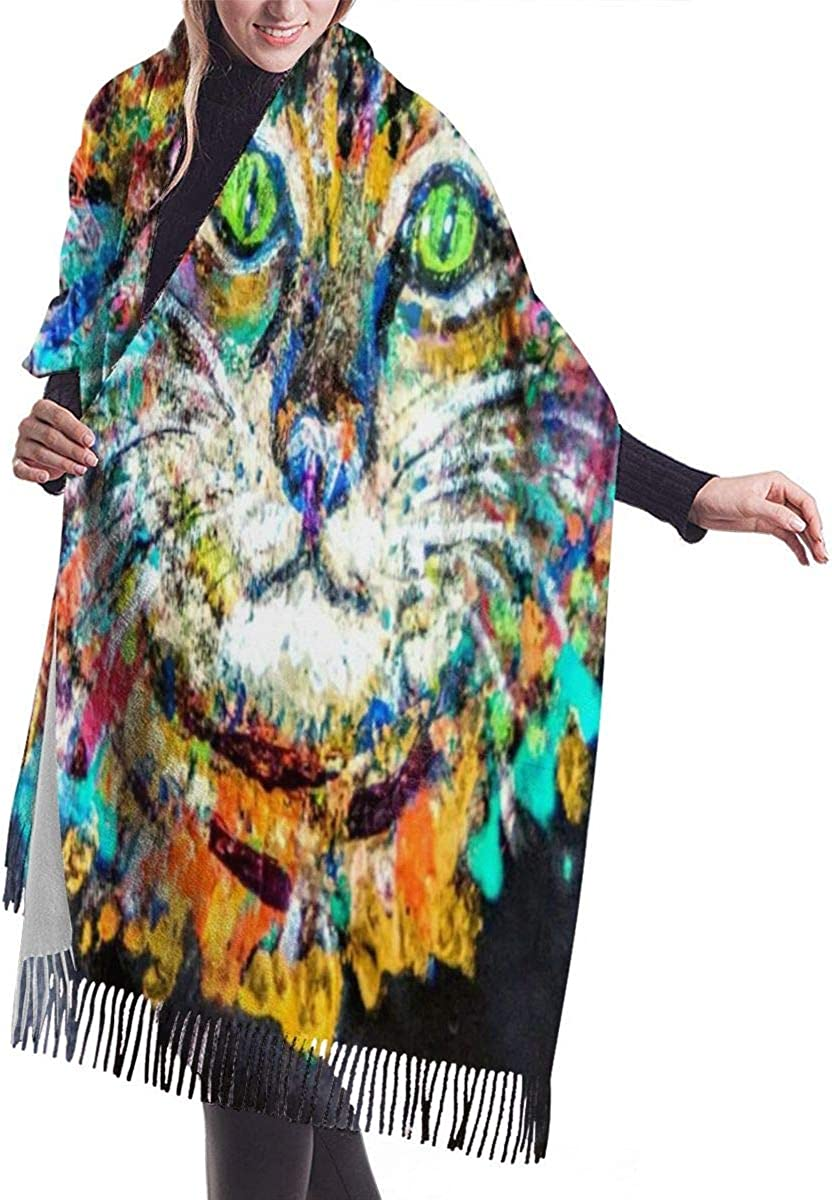 Mardi Gras Cat Color Warm Soft Cashmere Shawl Wrap Scarves Long Scarves For Women Office Worker Travel