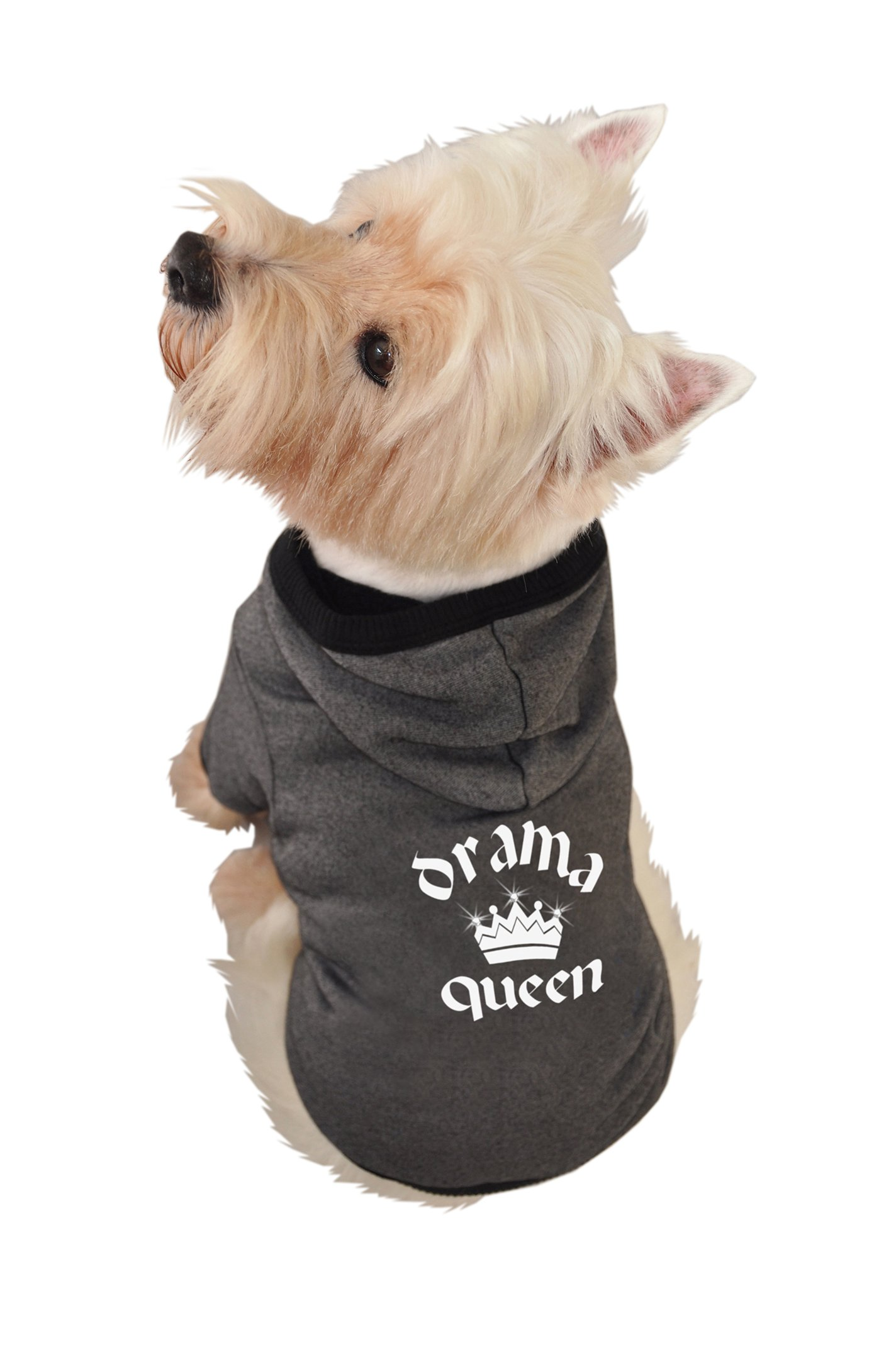 Ruff Ruff and Meow Dog Hoodie, Drama Queen, Black, Small by Ruff Ruff and Meow