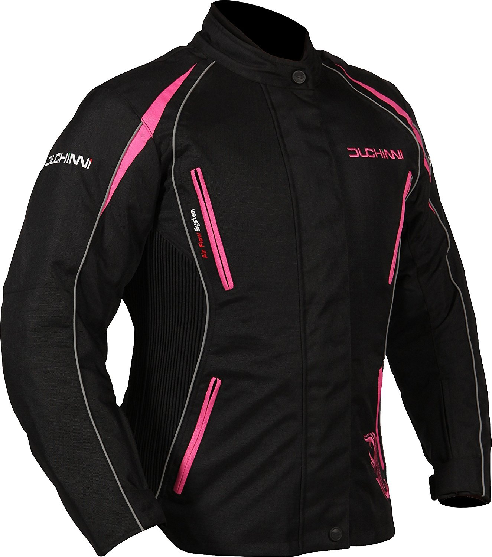 Black//Red, US 10//UK 14 DJVERON8514 DUCHINNI Womens 4 Season Motorcycle Jacket