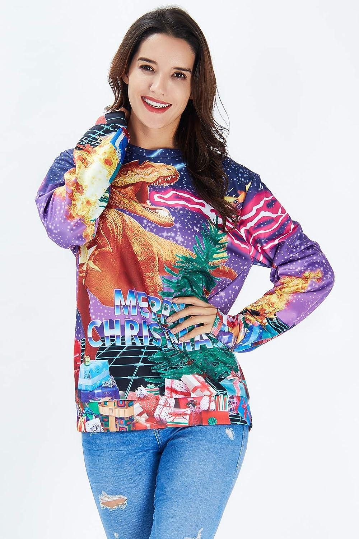 uideazone Unisex Natale Pullover Divertente Felpa di Natalizio Stampa 3D Christmas Jumper Sweatshirt per Uomo Donna S-3XL