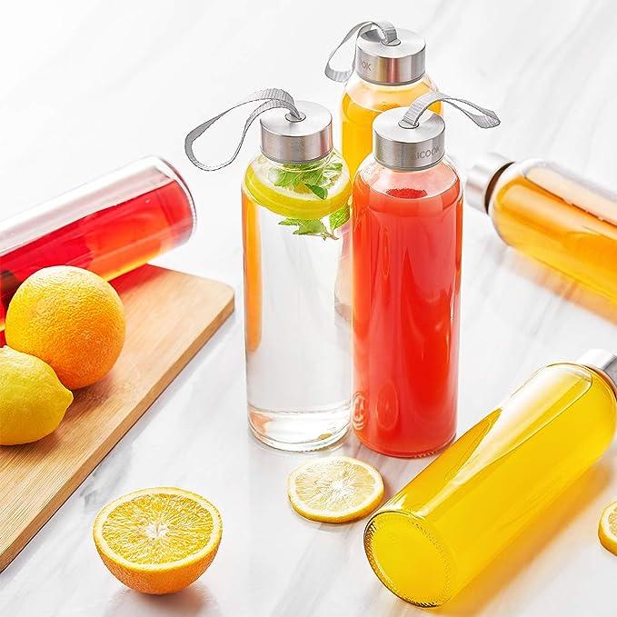 Amazon.com: Aicook - Botellas de agua de cristal para zumo ...