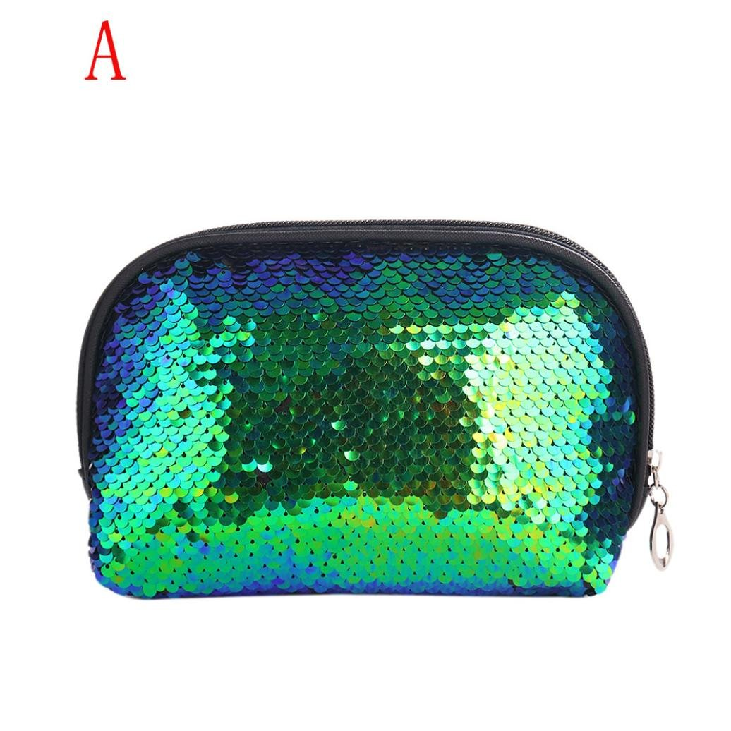 LiPing 9'' Mermaid Sequin Travel Cosmetic Clutch Bag Makeup Case Pouch Toiletry Wash Organizer for Travel Toiletry Beauty Zipper Bag for Women (Green)