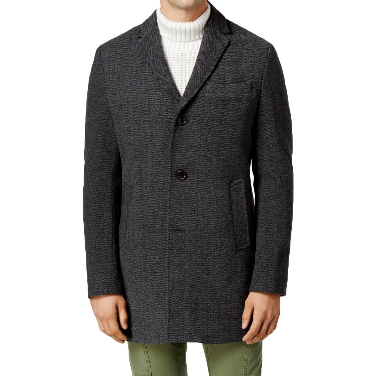 Tommy Hilfiger Mens Wool Herringbone Top Coat Gray XXL