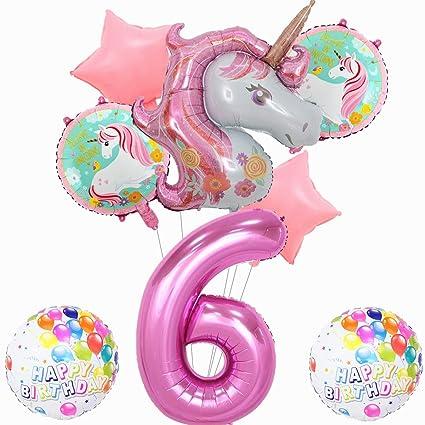 Amazon.com: Paquete de 8 globos de unicornio rosa para ...
