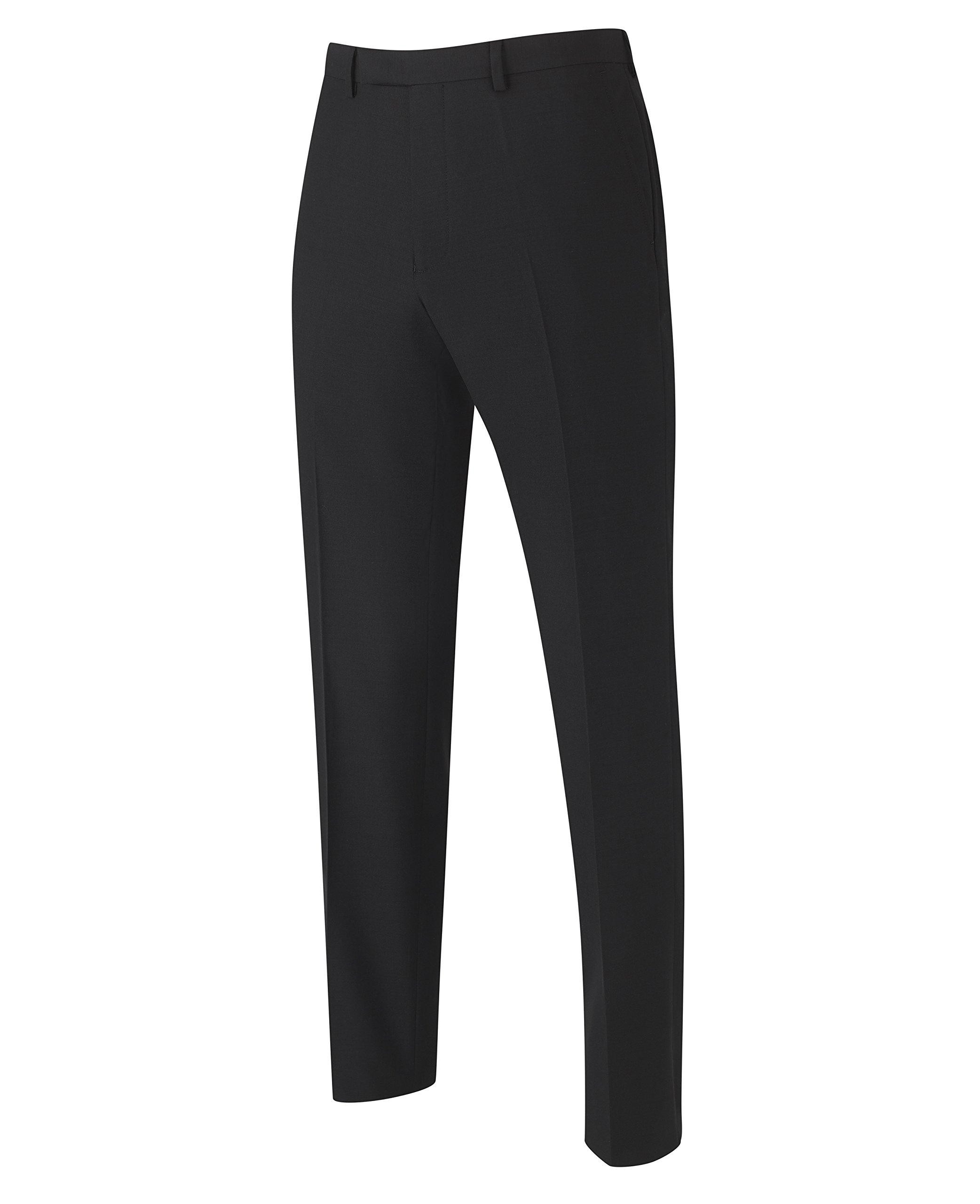 The Savile Row Company Savile Row Men's Black Tailored Business Suit Separate Dress Pant 34'' 32'' by The Savile Row Company