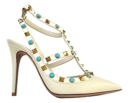 Burro Piel Mujer Zapatos De Garavani Para Blanco Vestir Valentino 1qT4w