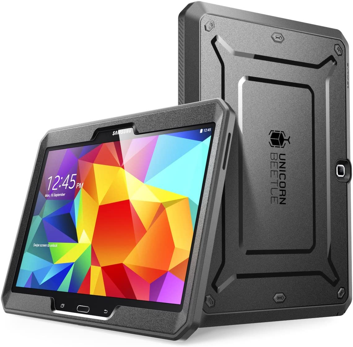 Samsung Galaxy Tab 4 10.1 Case, SUPCASE Heavy Duty Case for Galaxy Tab 4 10.1 Tablet with Built-in Screen Protector (Black/Black), Dual Layer Design + Impact Resistant Bumper