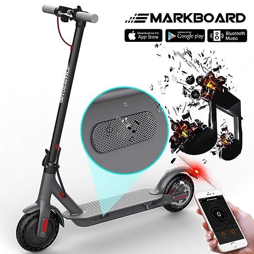 MARKBOARD Patinete Eléctrico -8.5 Pulgadas Scooter Eléctrico Plegable con App y Bluetooth Poner Música Batería 7.5Ah con Faro y Luz de Freno (Negro)