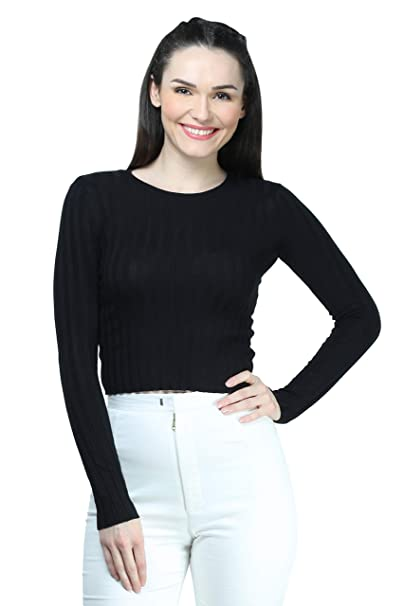 3a8e6b0b42046f MansiCollections Women s Viscose Ribbed Full Sleeves Light Crop Top (Black