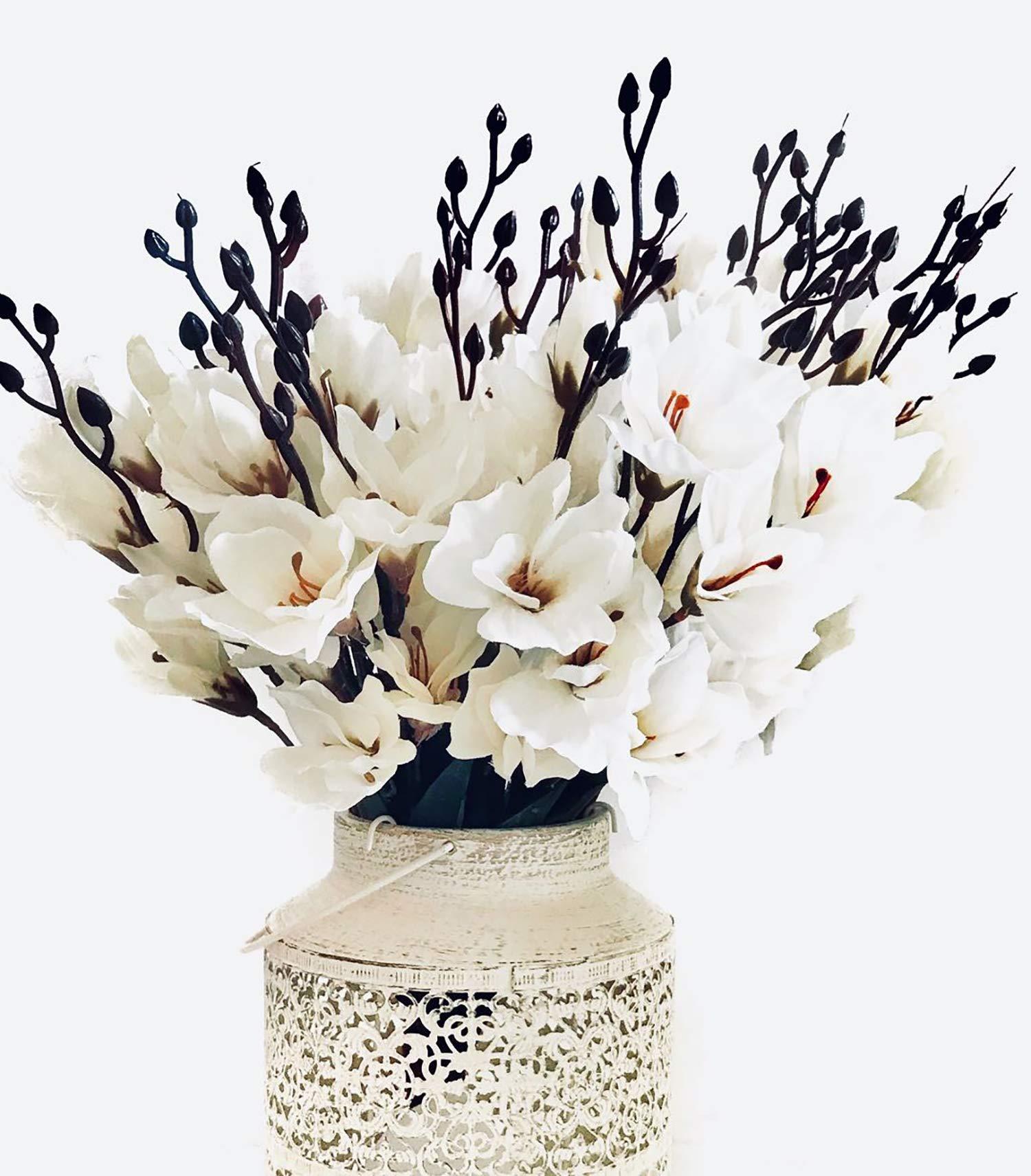 silk flower arrangements mr go shop 4pcs artificial flower artificial azalea fake faux primroses bouquet arrangements home garden table patio wedding party christmas decoration (17.7 inch)(no vase)